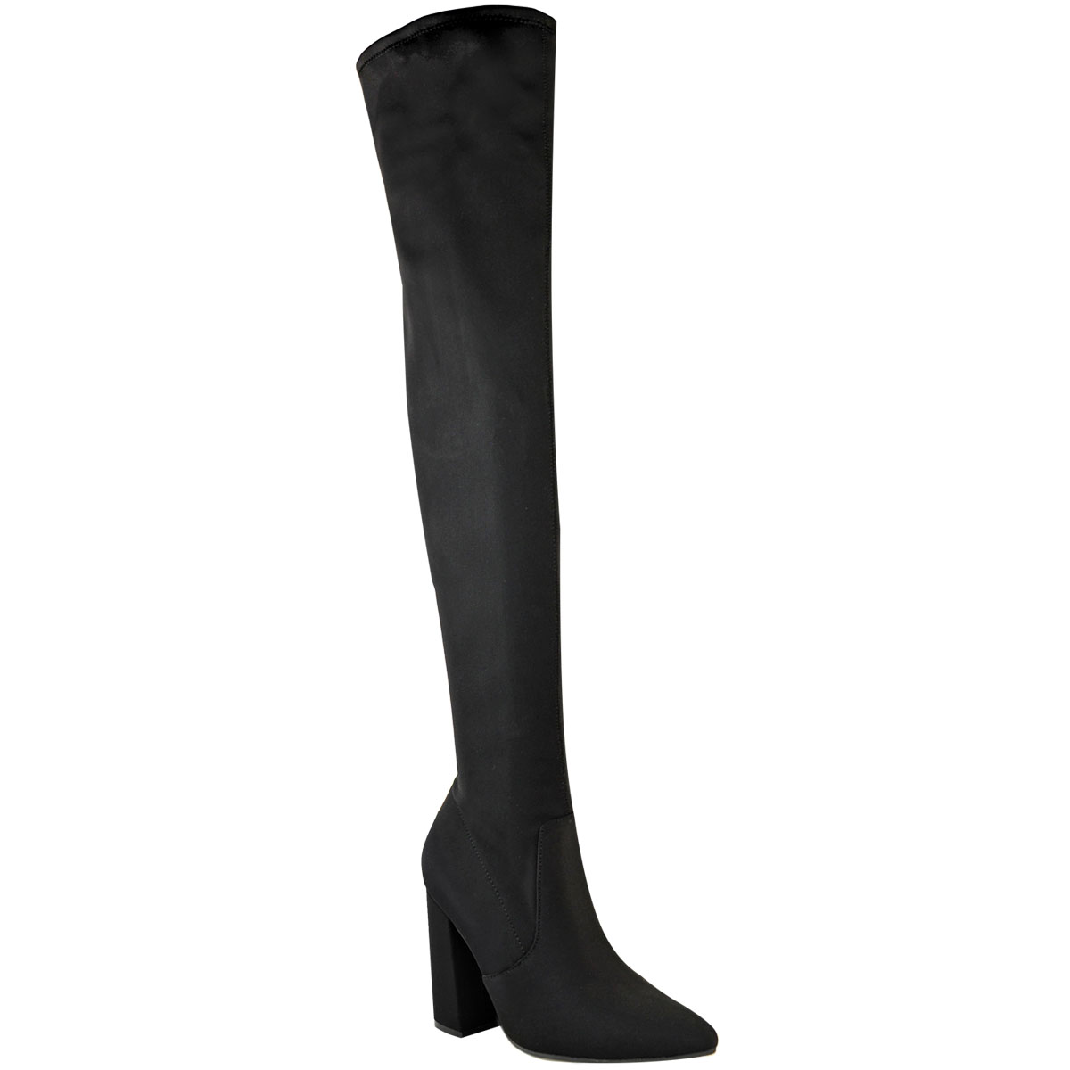 Womens-Ladies-Thigh-High-Boots-Lycra-Over-The-Knee-Pointy-Block-High-Heels-Size Indexbild 3