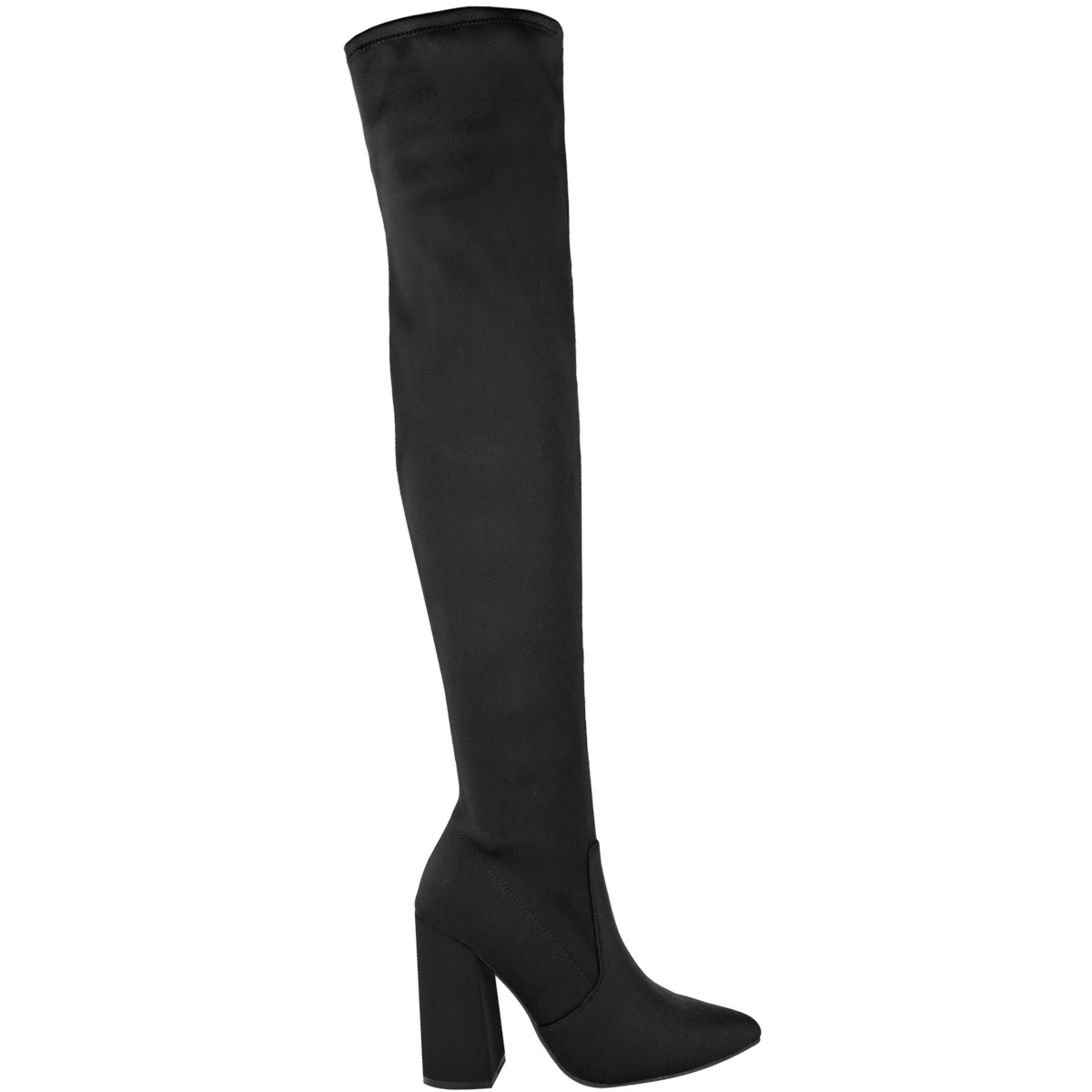 Womens-Ladies-Thigh-High-Boots-Lycra-Over-The-Knee-Pointy-Block-High-Heels-Size Indexbild 4