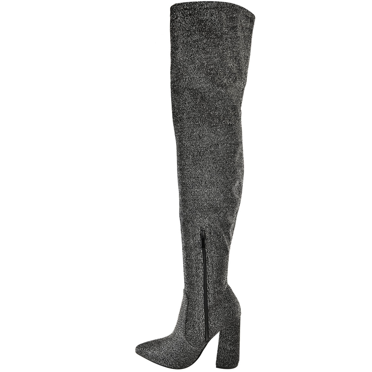 Womens-Ladies-Thigh-High-Boots-Lycra-Over-The-Knee-Pointy-Block-High-Heels-Size Indexbild 25