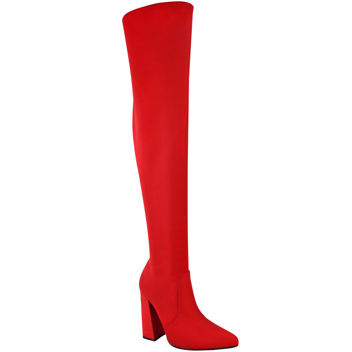 Womens-Ladies-Thigh-High-Boots-Lycra-Over-The-Knee-Pointy-Block-High-Heels-Size Indexbild 8