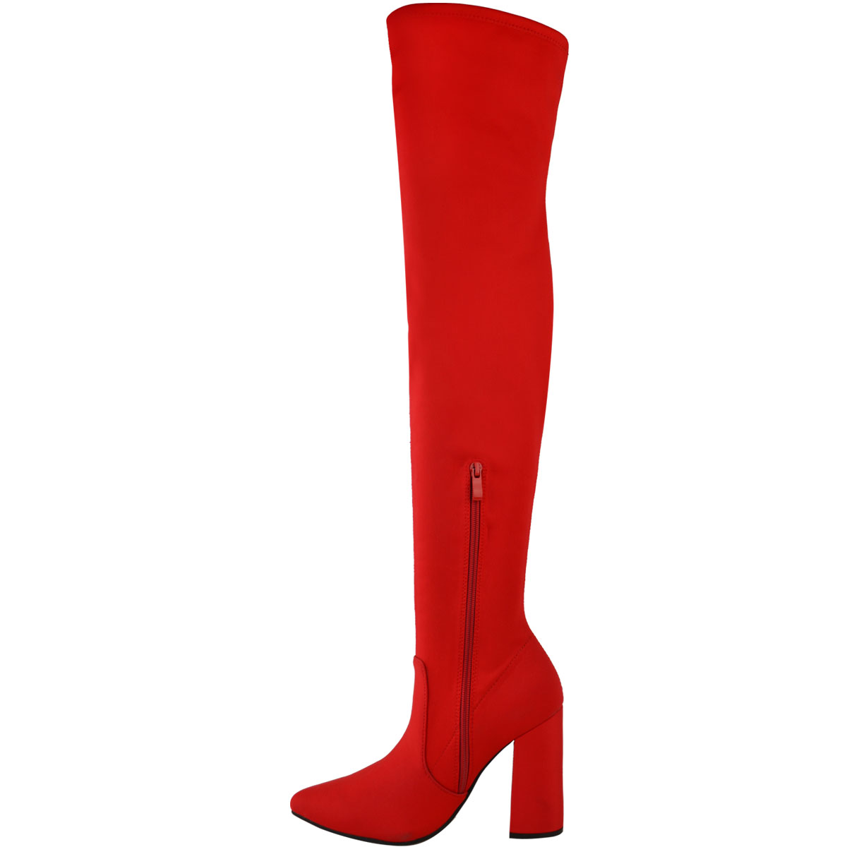 Womens-Ladies-Thigh-High-Boots-Lycra-Over-The-Knee-Pointy-Block-High-Heels-Size Indexbild 10