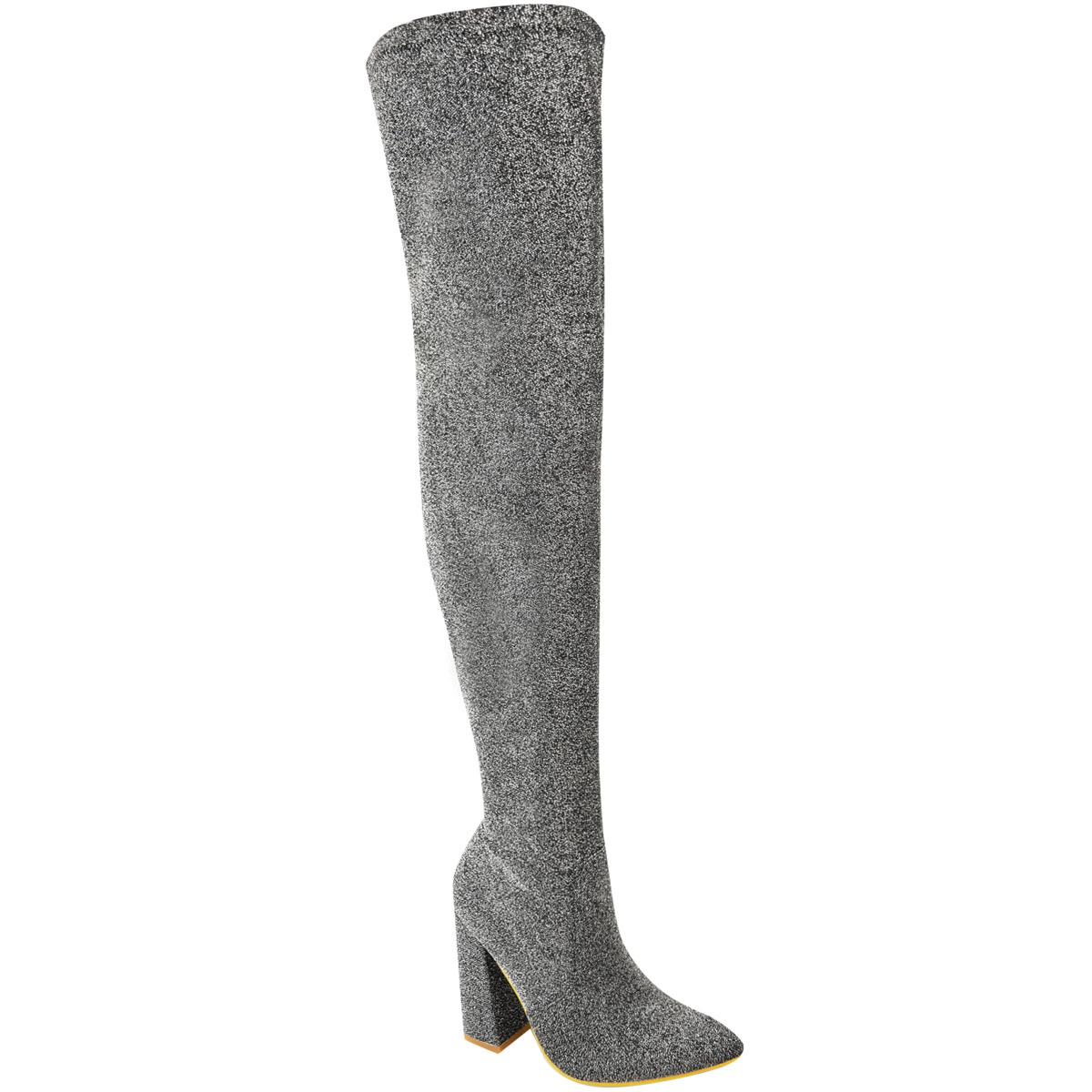 Womens-Ladies-Thigh-High-Boots-Lycra-Over-The-Knee-Pointy-Block-High-Heels-Size Indexbild 18