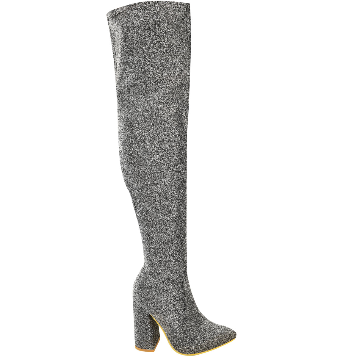 Womens-Ladies-Thigh-High-Boots-Lycra-Over-The-Knee-Pointy-Block-High-Heels-Size Indexbild 19