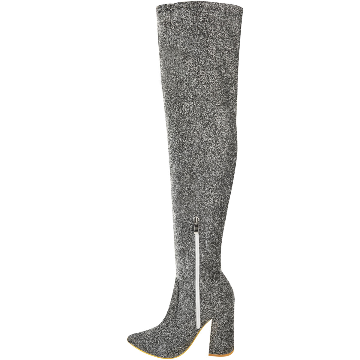 Womens-Ladies-Thigh-High-Boots-Lycra-Over-The-Knee-Pointy-Block-High-Heels-Size Indexbild 20