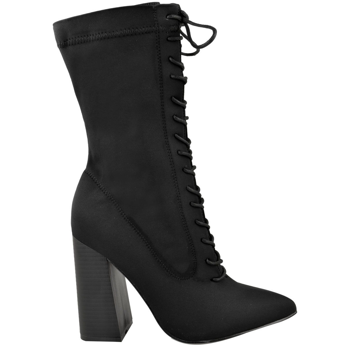 Womens-Ladies-New-Calf-Ankle-Boots-Lycra-Lace-Up-Shoes-Pointed-Toe-Stretch-Size miniatuur 3