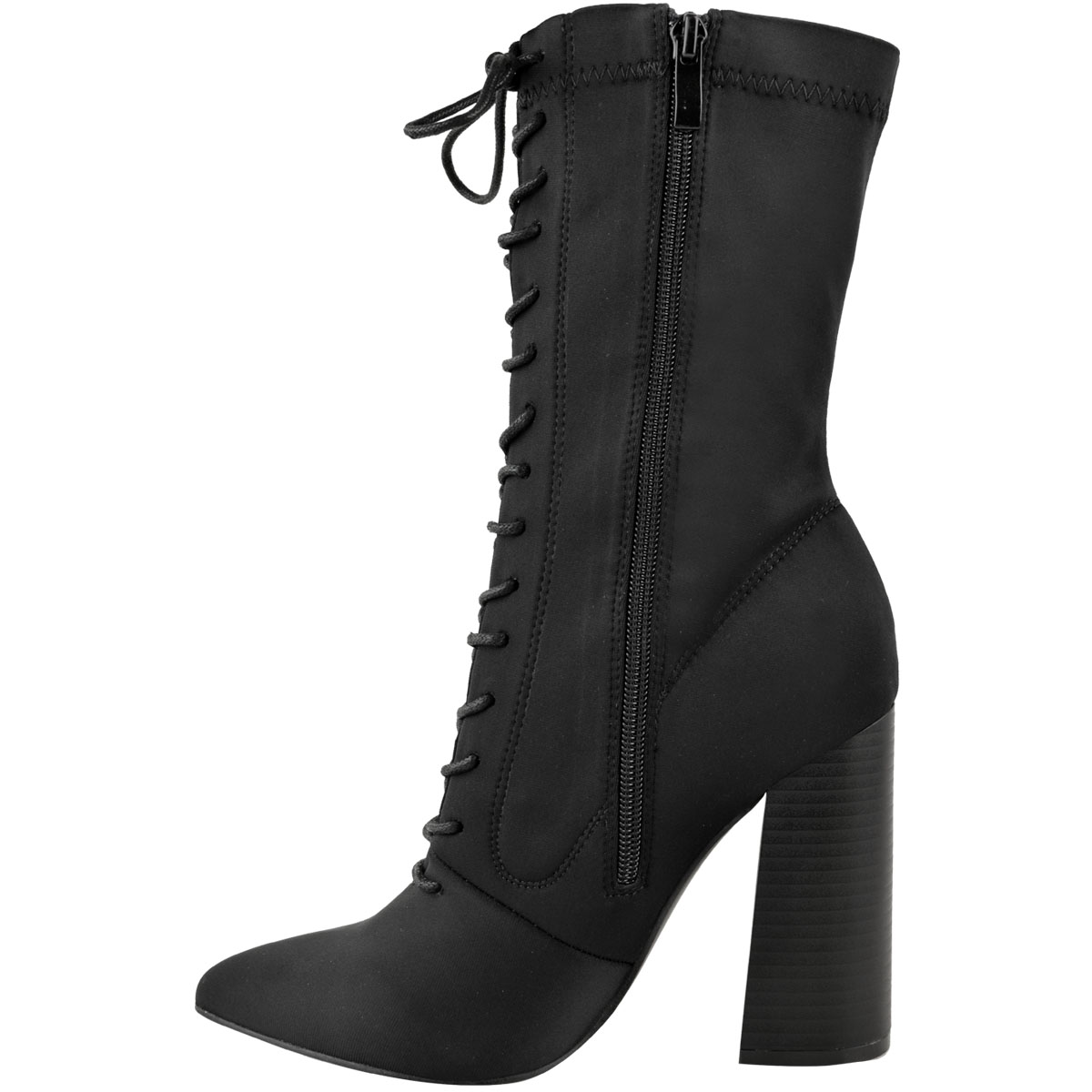 Womens-Ladies-New-Calf-Ankle-Boots-Lycra-Lace-Up-Shoes-Pointed-Toe-Stretch-Size miniatuur 4