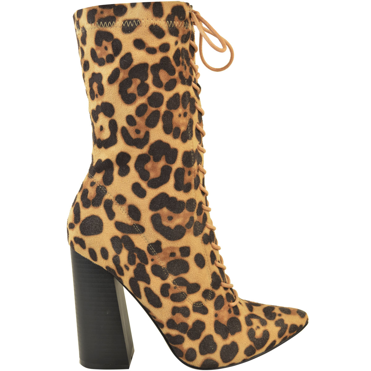 Womens-Ladies-New-Calf-Ankle-Boots-Lycra-Lace-Up-Shoes-Pointed-Toe-Stretch-Size miniatuur 15