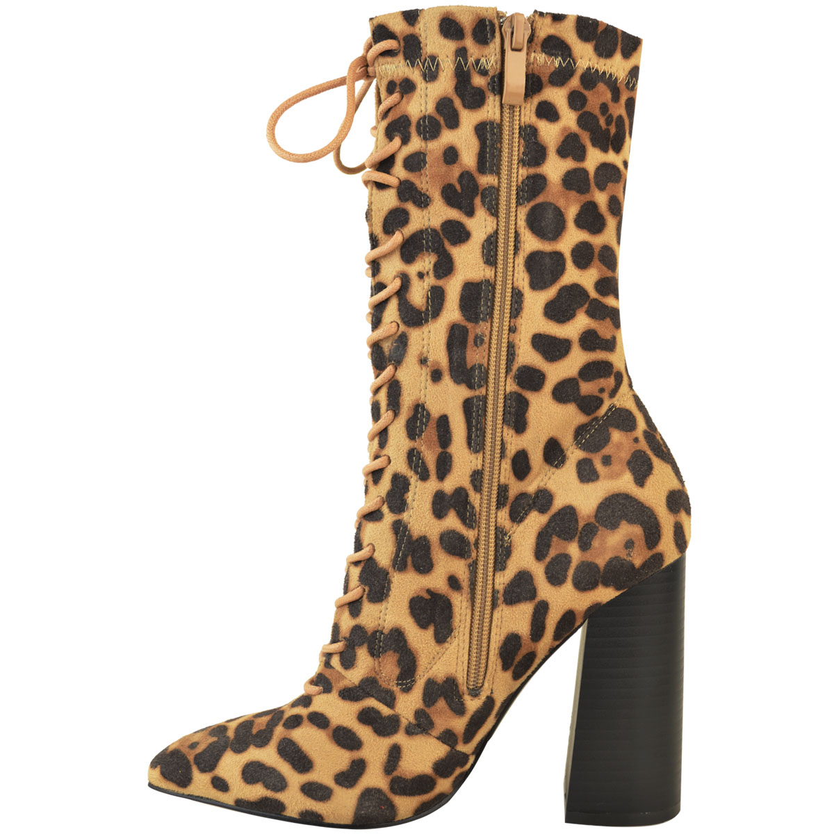 Womens-Ladies-New-Calf-Ankle-Boots-Lycra-Lace-Up-Shoes-Pointed-Toe-Stretch-Size miniatuur 16