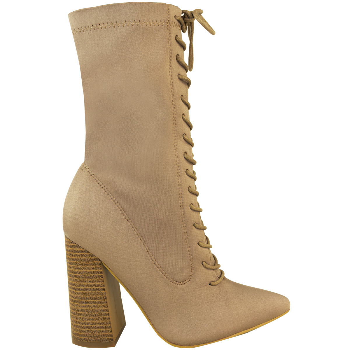 Womens-Ladies-New-Calf-Ankle-Boots-Lycra-Lace-Up-Shoes-Pointed-Toe-Stretch-Size miniatuur 11