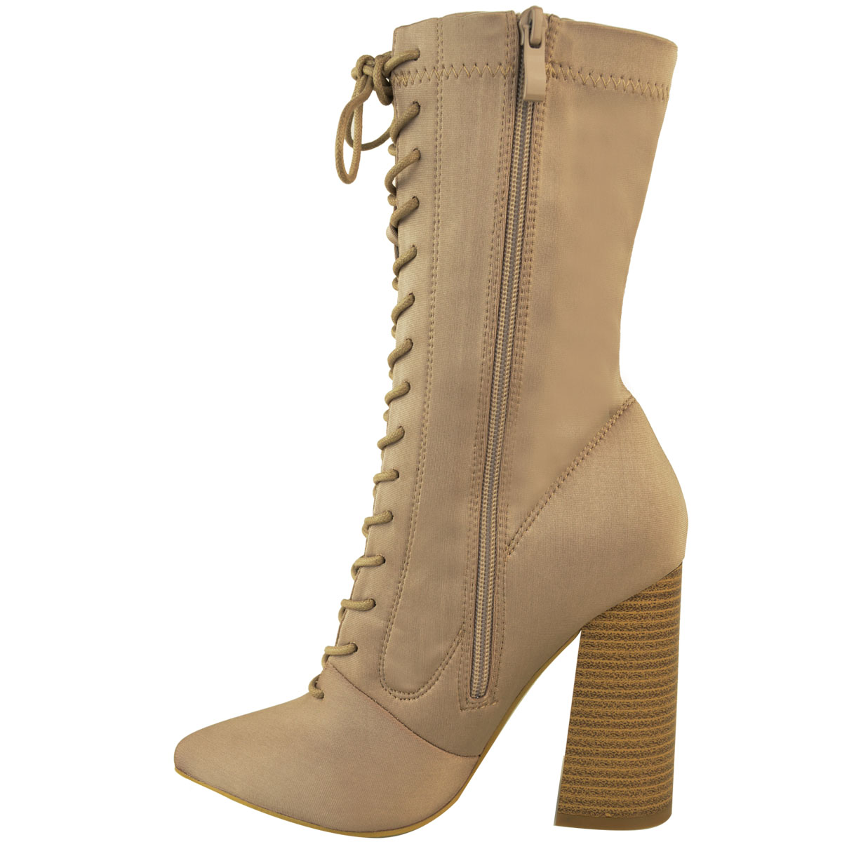 Womens-Ladies-New-Calf-Ankle-Boots-Lycra-Lace-Up-Shoes-Pointed-Toe-Stretch-Size miniatuur 12