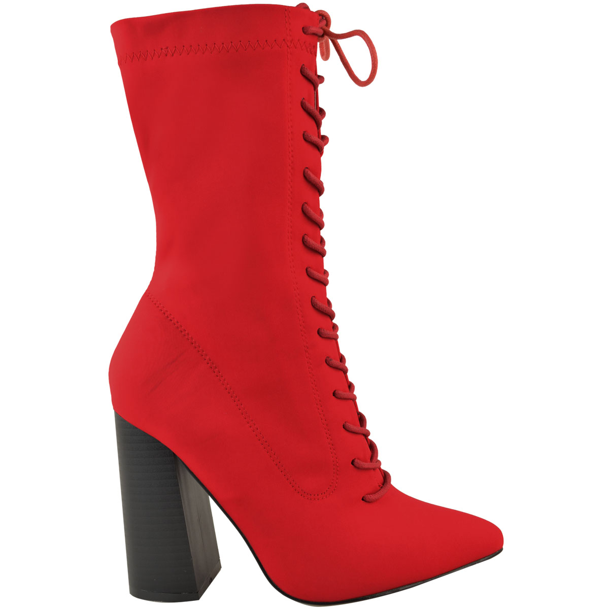 Womens-Ladies-New-Calf-Ankle-Boots-Lycra-Lace-Up-Shoes-Pointed-Toe-Stretch-Size miniatuur 7