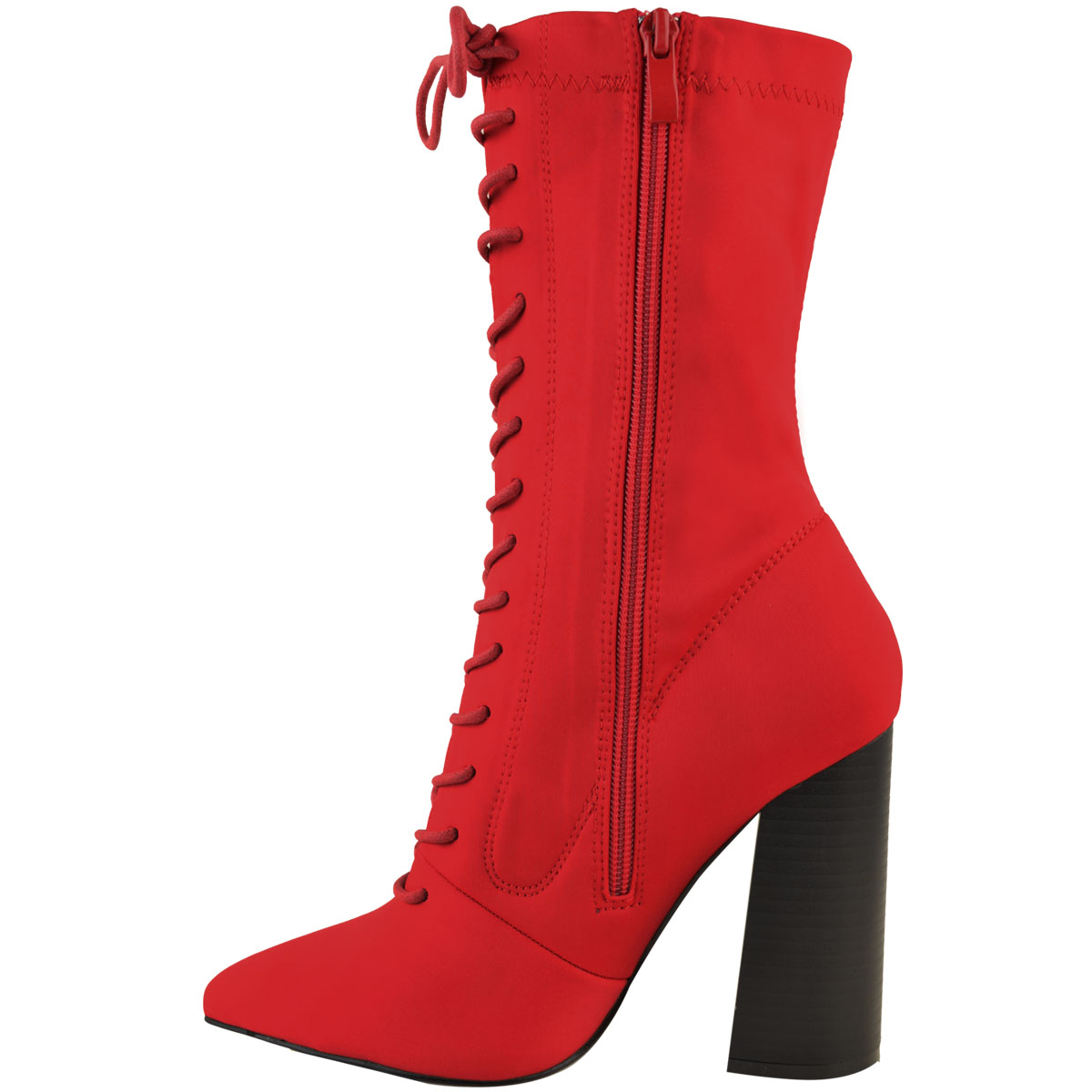 Womens-Ladies-New-Calf-Ankle-Boots-Lycra-Lace-Up-Shoes-Pointed-Toe-Stretch-Size miniatuur 8