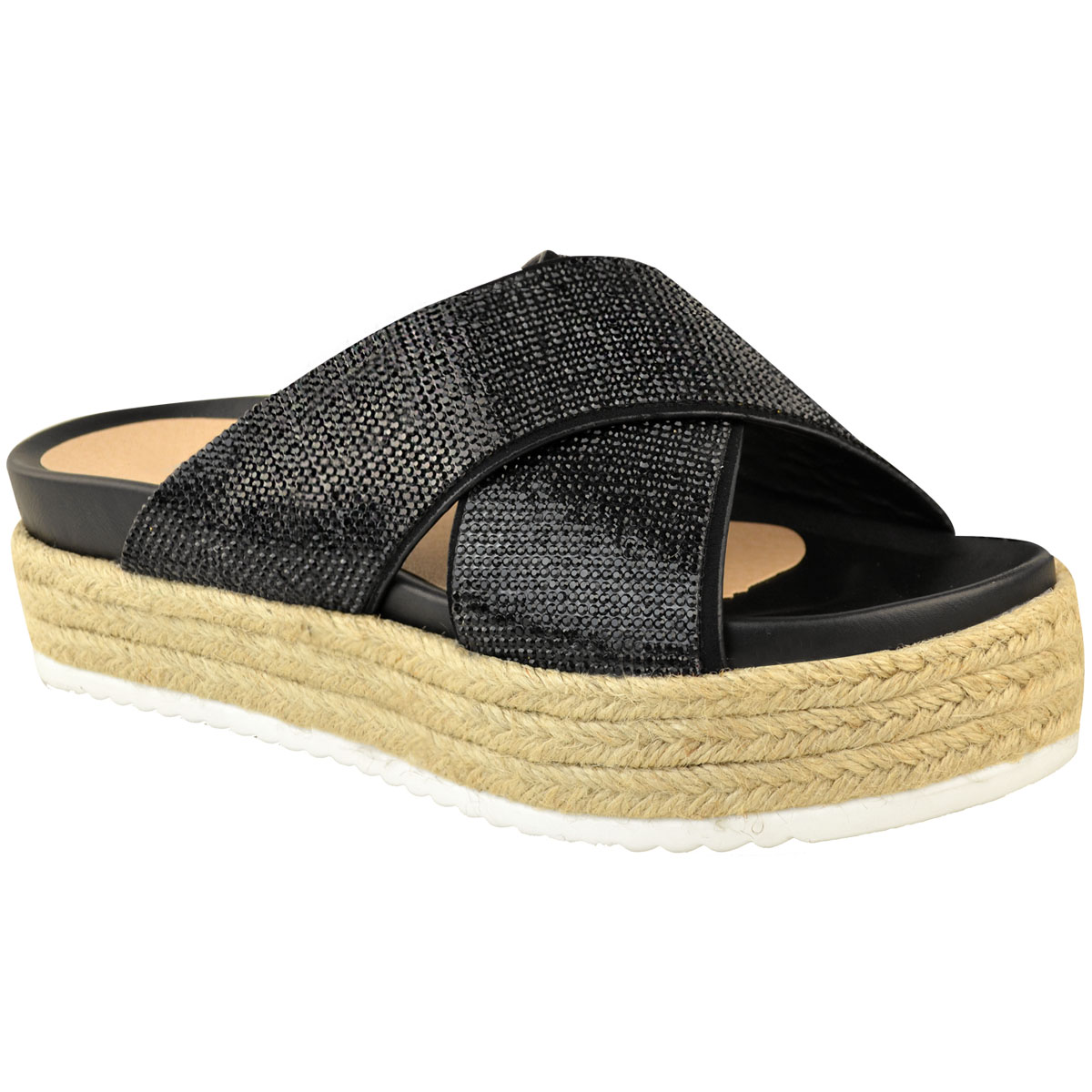 Womens-Ladies-Diamante-Slip-On-Sandals-Flatforms-Sparkly-Platform-Summer-Size-UK thumbnail 3