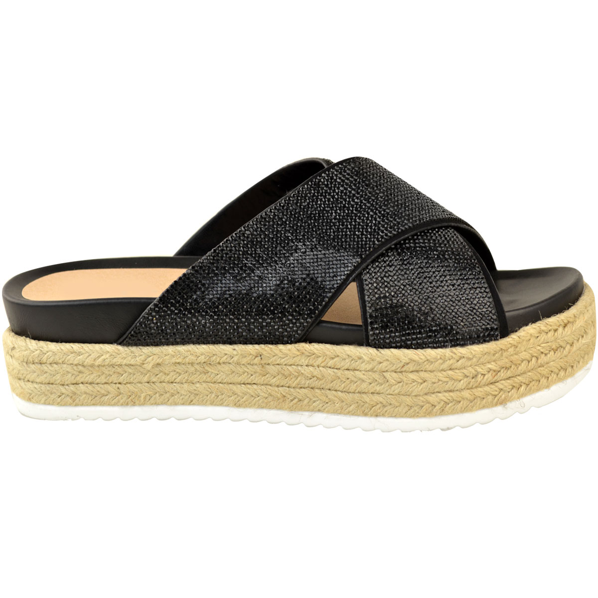 Womens-Ladies-Diamante-Slip-On-Sandals-Flatforms-Sparkly-Platform-Summer-Size-UK thumbnail 4