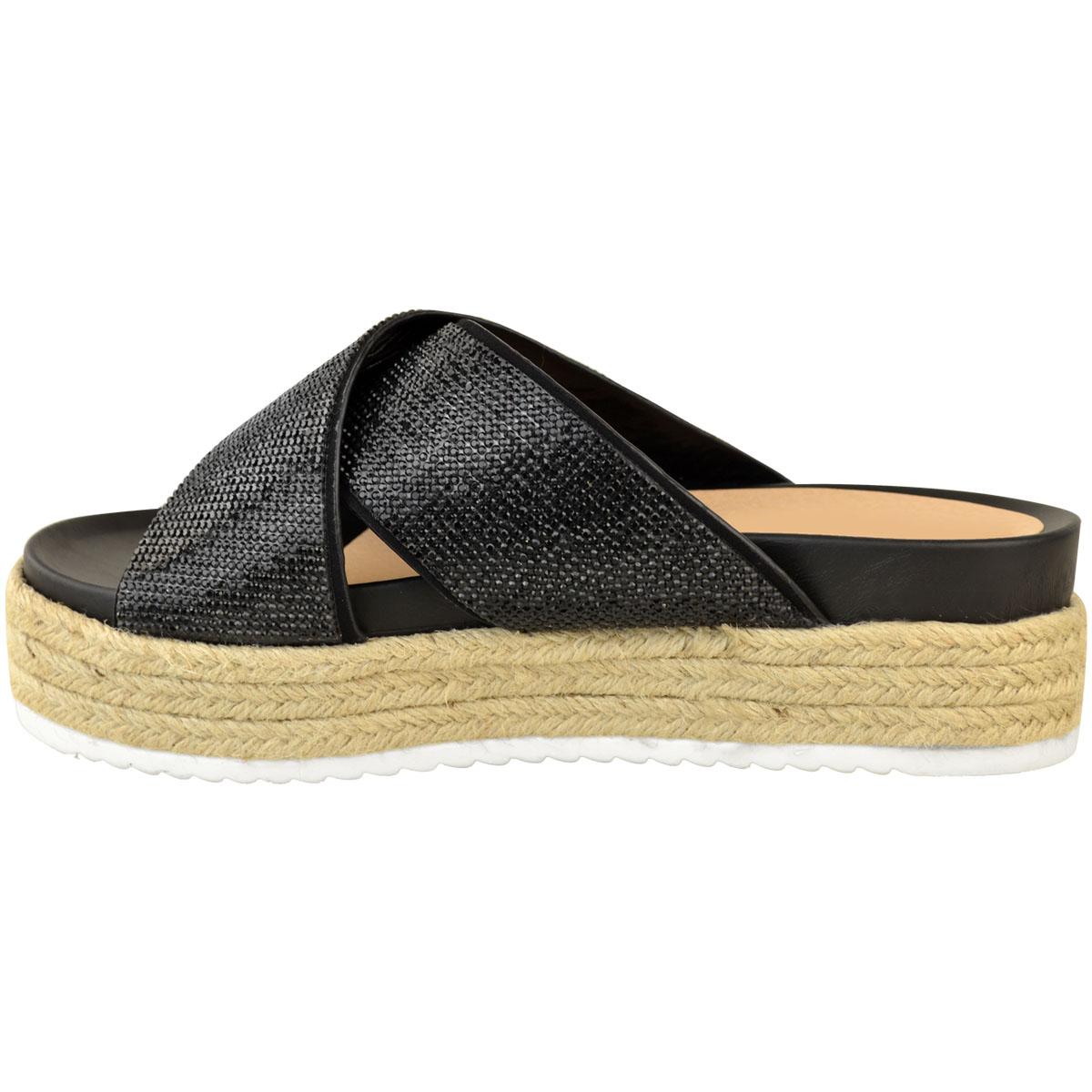 Womens-Ladies-Diamante-Slip-On-Sandals-Flatforms-Sparkly-Platform-Summer-Size-UK thumbnail 5