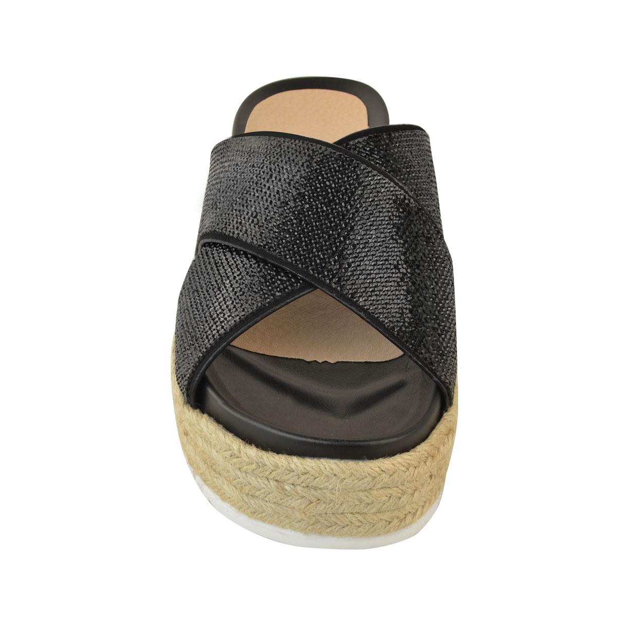 Womens-Ladies-Diamante-Slip-On-Sandals-Flatforms-Sparkly-Platform-Summer-Size-UK thumbnail 6