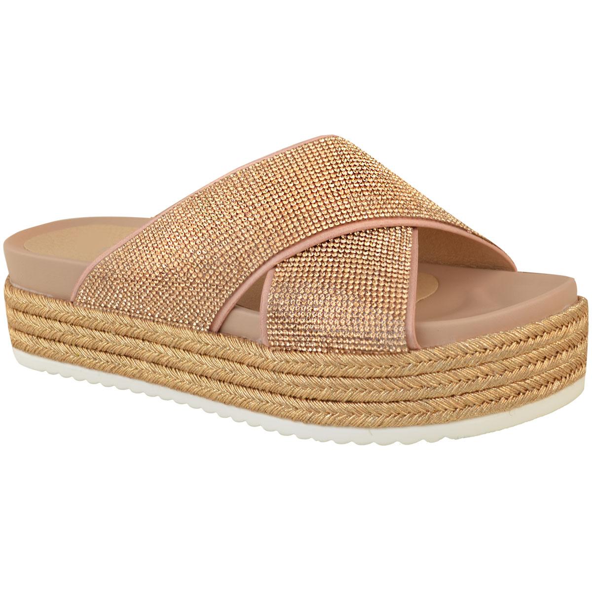 Womens-Ladies-Diamante-Slip-On-Sandals-Flatforms-Sparkly-Platform-Summer-Size-UK thumbnail 8