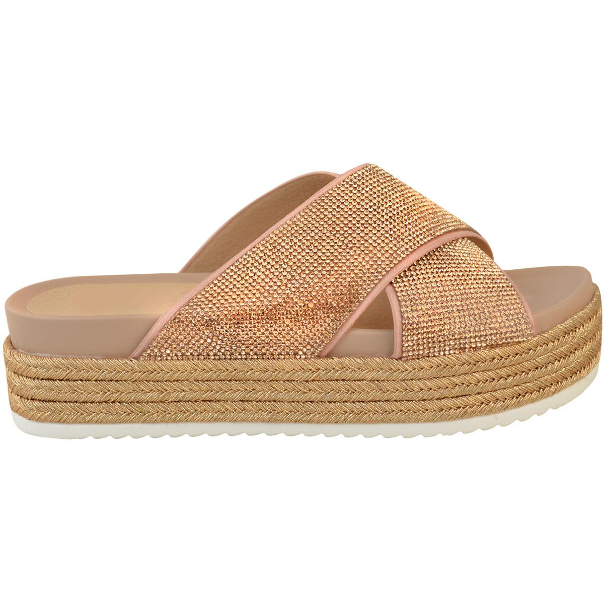 Womens-Ladies-Diamante-Slip-On-Sandals-Flatforms-Sparkly-Platform-Summer-Size-UK thumbnail 9
