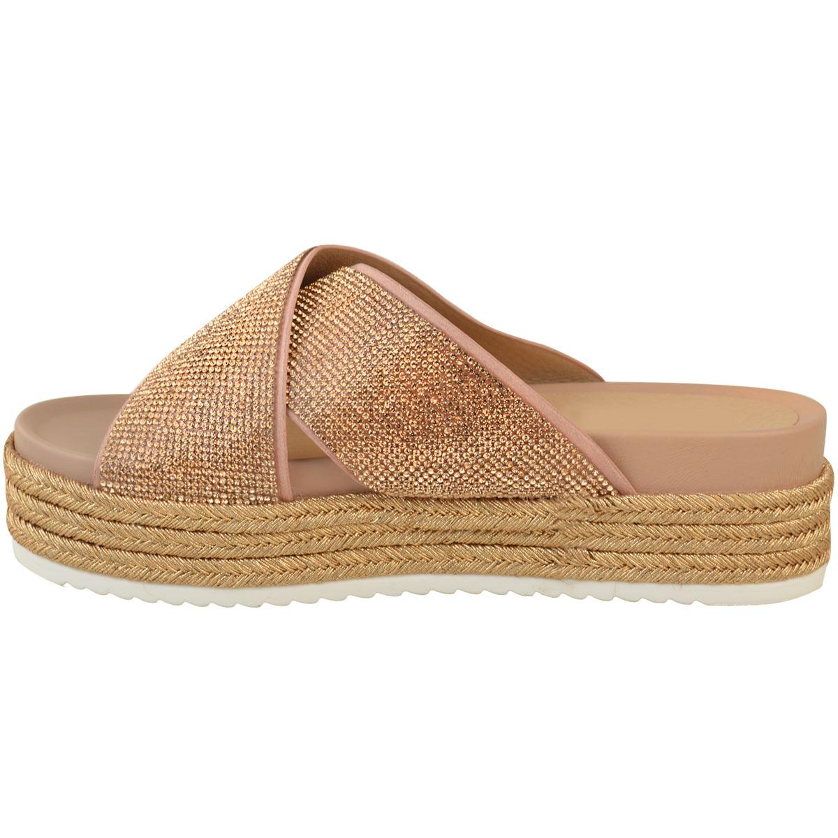 Womens-Ladies-Diamante-Slip-On-Sandals-Flatforms-Sparkly-Platform-Summer-Size-UK thumbnail 10