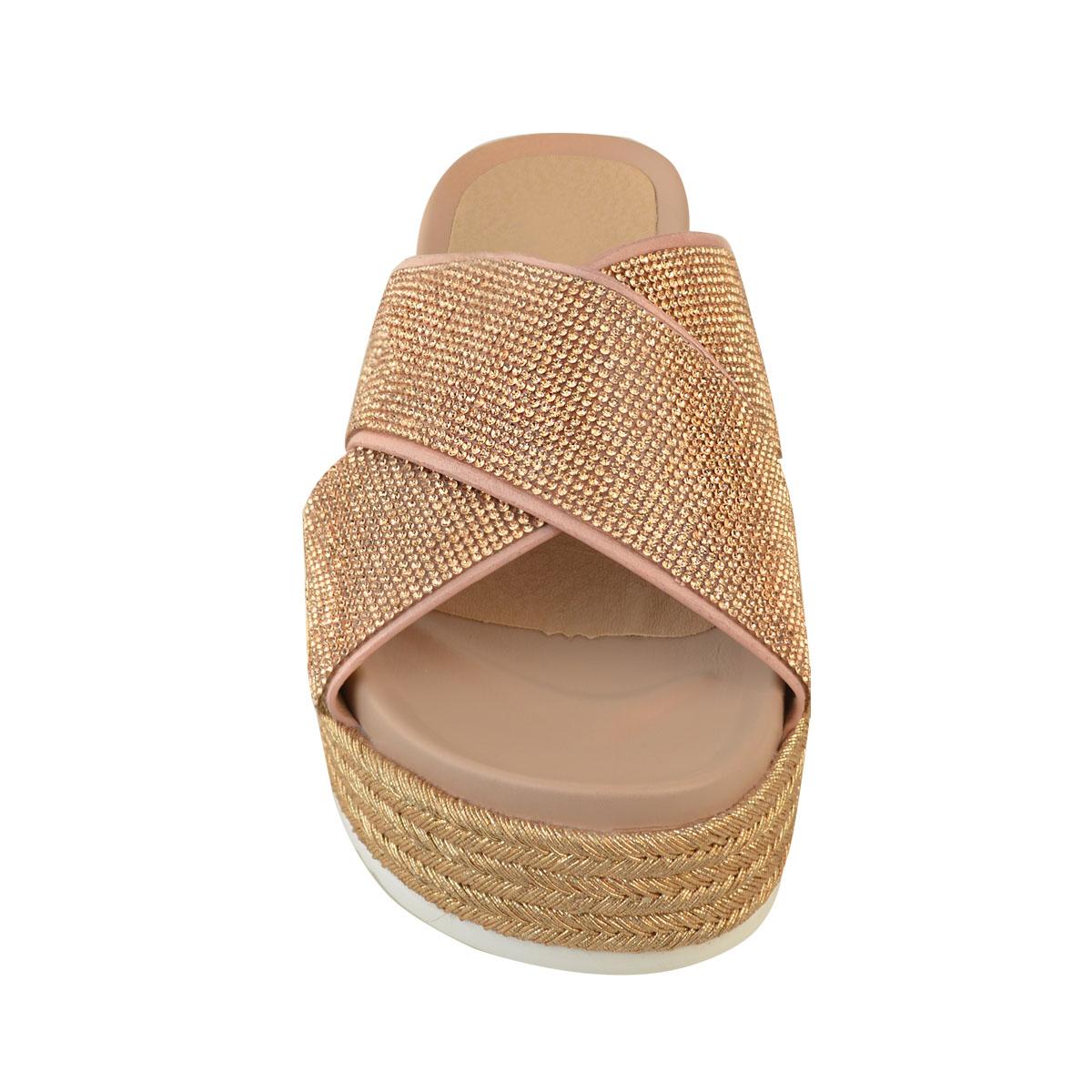 Womens-Ladies-Diamante-Slip-On-Sandals-Flatforms-Sparkly-Platform-Summer-Size-UK thumbnail 11
