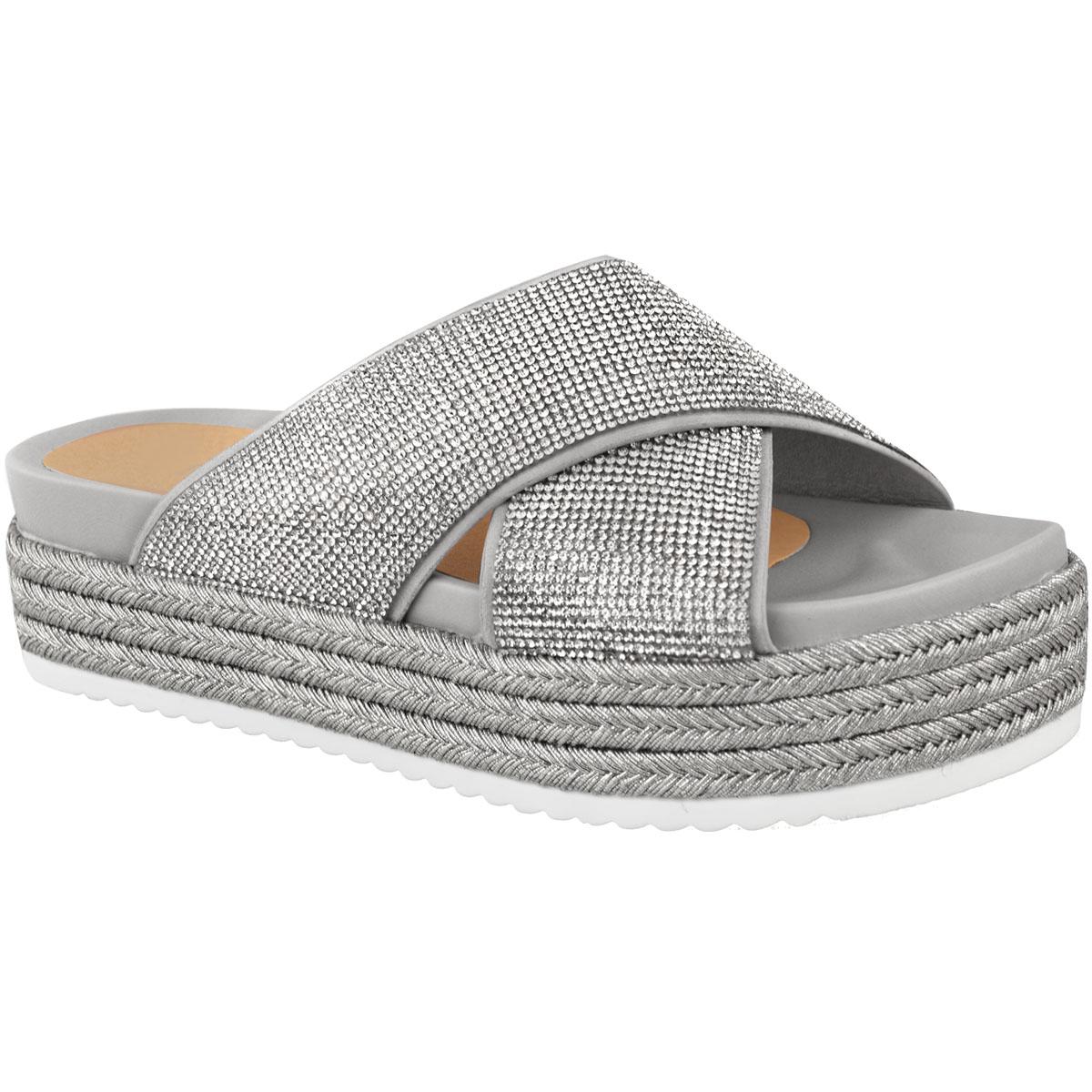 Womens-Ladies-Diamante-Slip-On-Sandals-Flatforms-Sparkly-Platform-Summer-Size-UK thumbnail 13