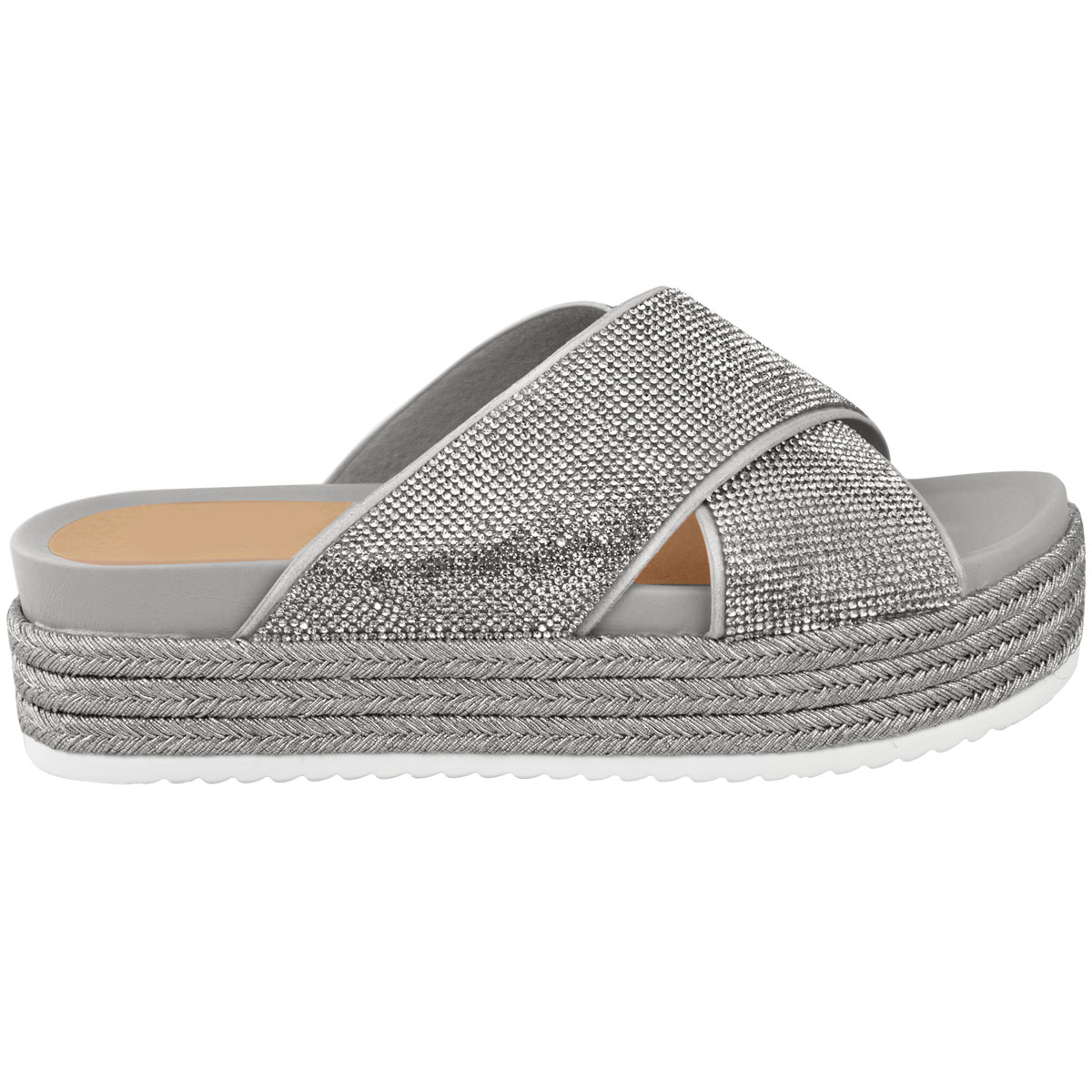 Womens Ladies Diamante Slip On Sandals