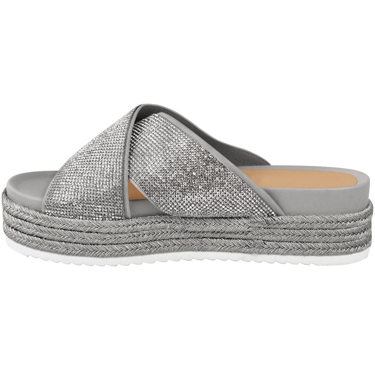 Womens-Ladies-Diamante-Slip-On-Sandals-Flatforms-Sparkly-Platform-Summer-Size-UK thumbnail 15
