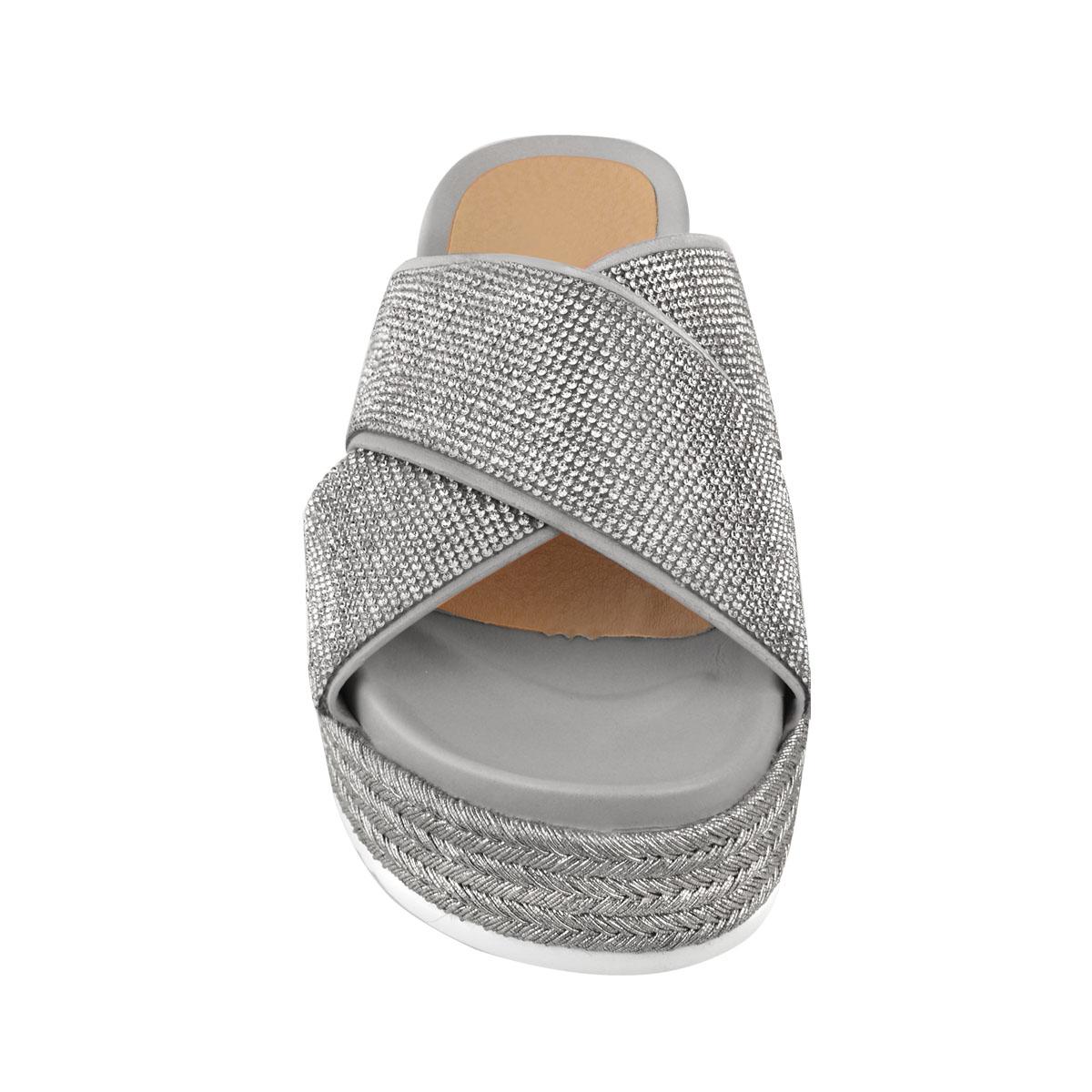 Womens-Ladies-Diamante-Slip-On-Sandals-Flatforms-Sparkly-Platform-Summer-Size-UK thumbnail 16
