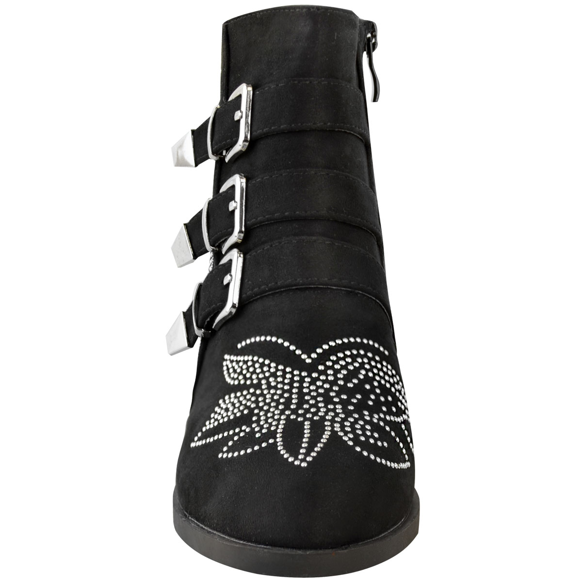 Womens Ladies Studded Flat Ankle Boots Spikes Biker Punk