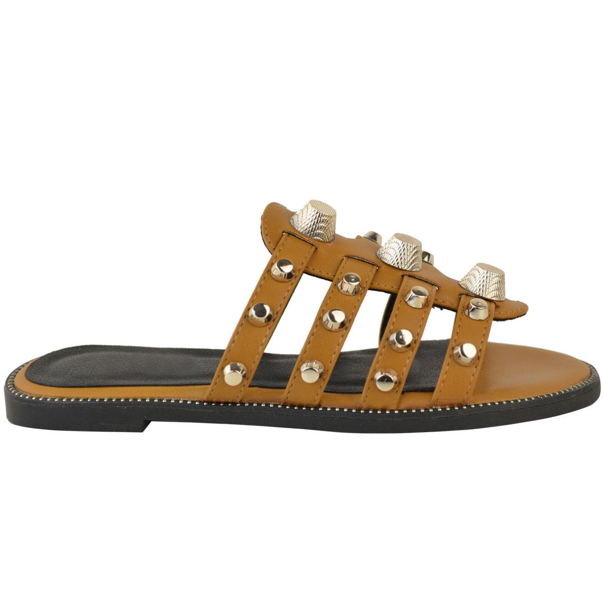 Womens Ladies Slip On Designer Inspired Embellished Studded Sandals Sliders Size