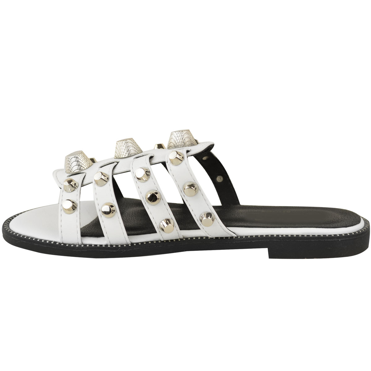 96a33a38c335 New Womens Ladies Giant Gold Studded Faux Leather Slides Summer ...