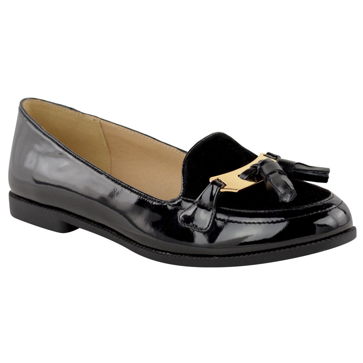 womens new flat office school shoes smart
