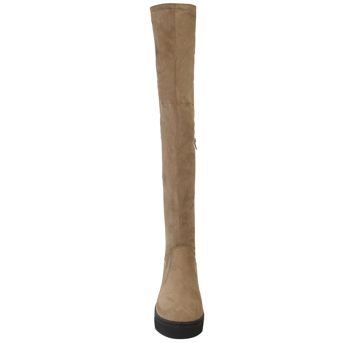 Da-Donna-con-Tacco-Piatto-Stivali-alte-da-coscia-sopra-il-ginocchio-Casual-INVERNO-TG-UK-NUOVO
