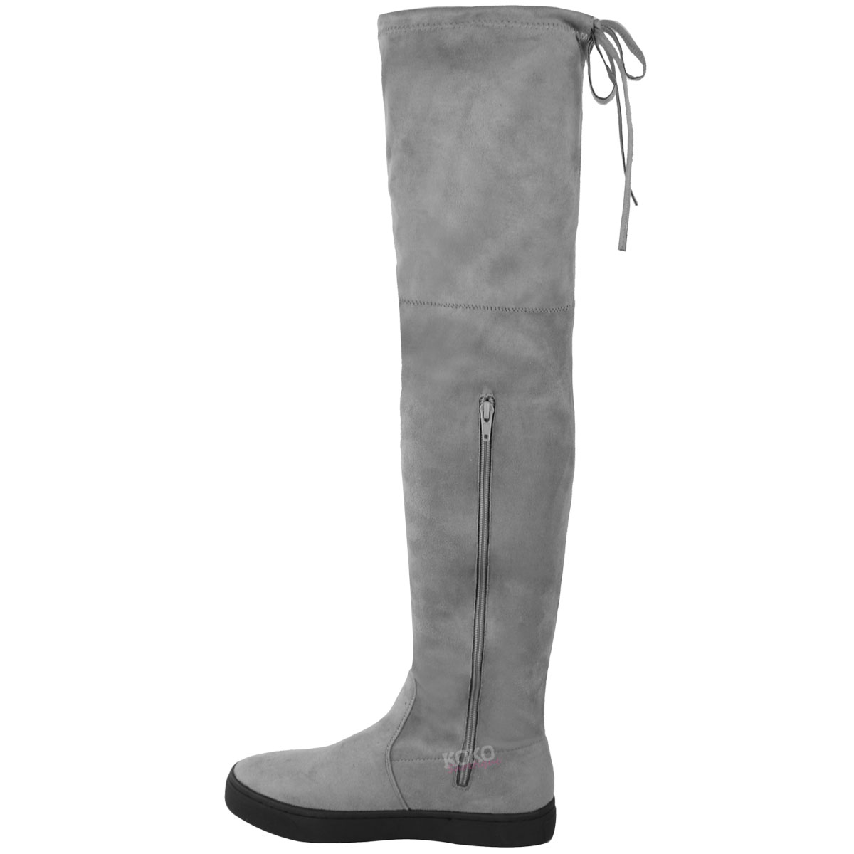 Womens Ladies Over The Knee Flat Thigh High Boots Low Heel Lace Up