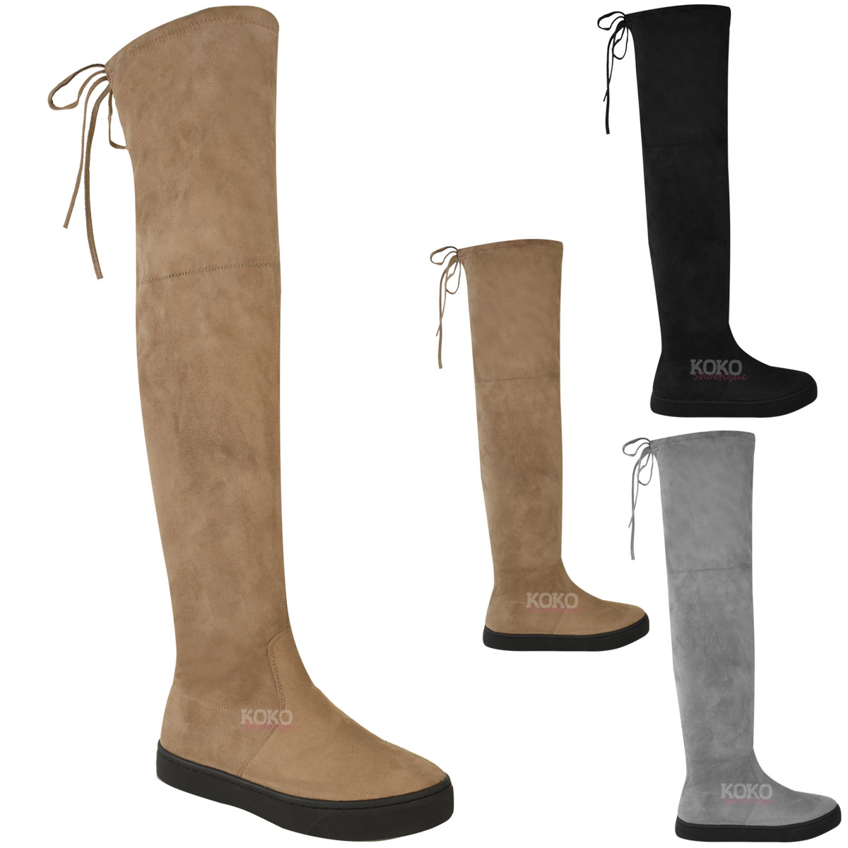 womens the knee flat thigh high boots low heel