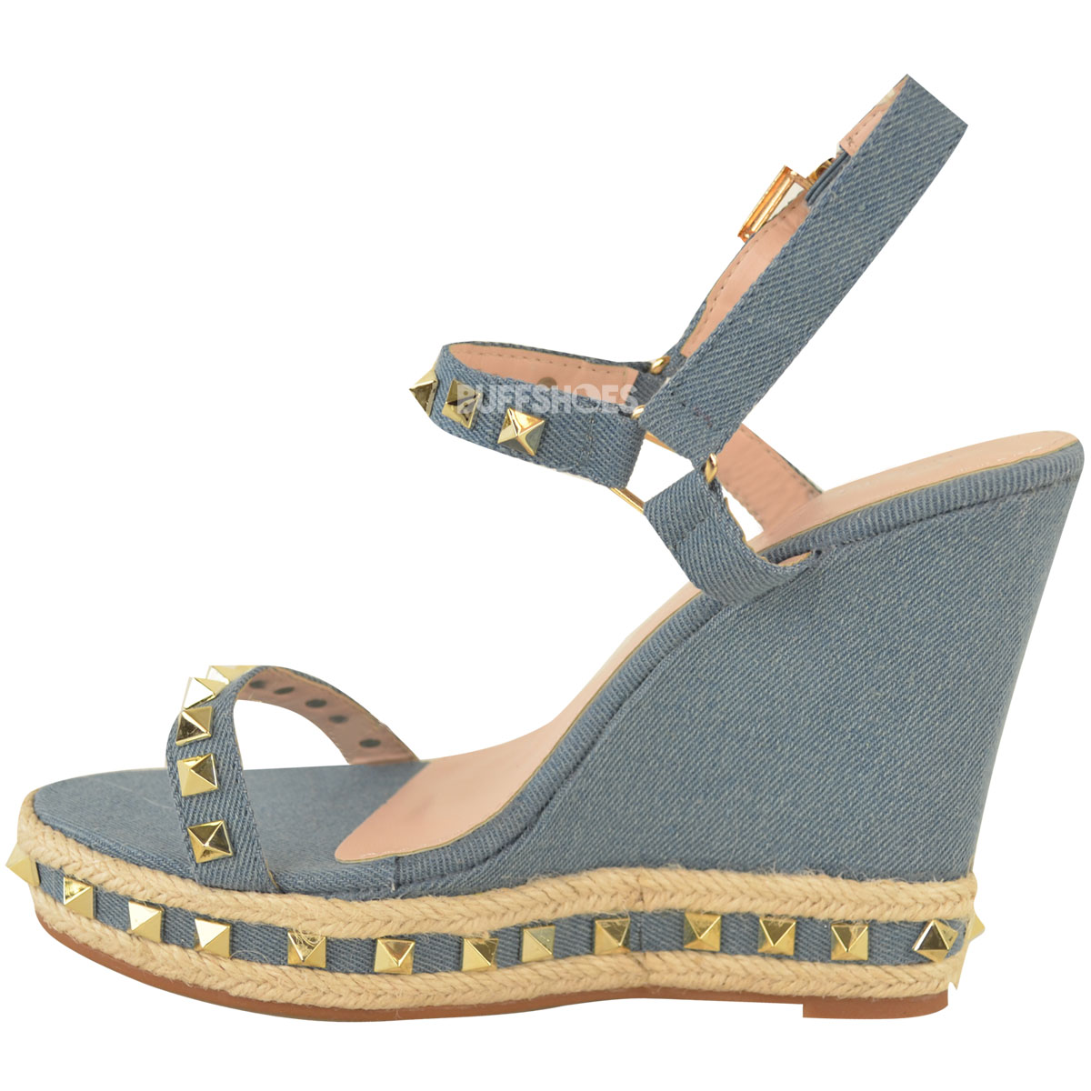 Womens Ladies Studded Espadrille Wedge High Heel Sandals ...
