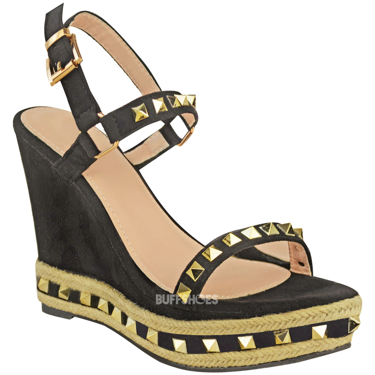Details about Womens Ladies Studded Espadrille Wedge High Heel Sandals Ankle Strap Shoes Size