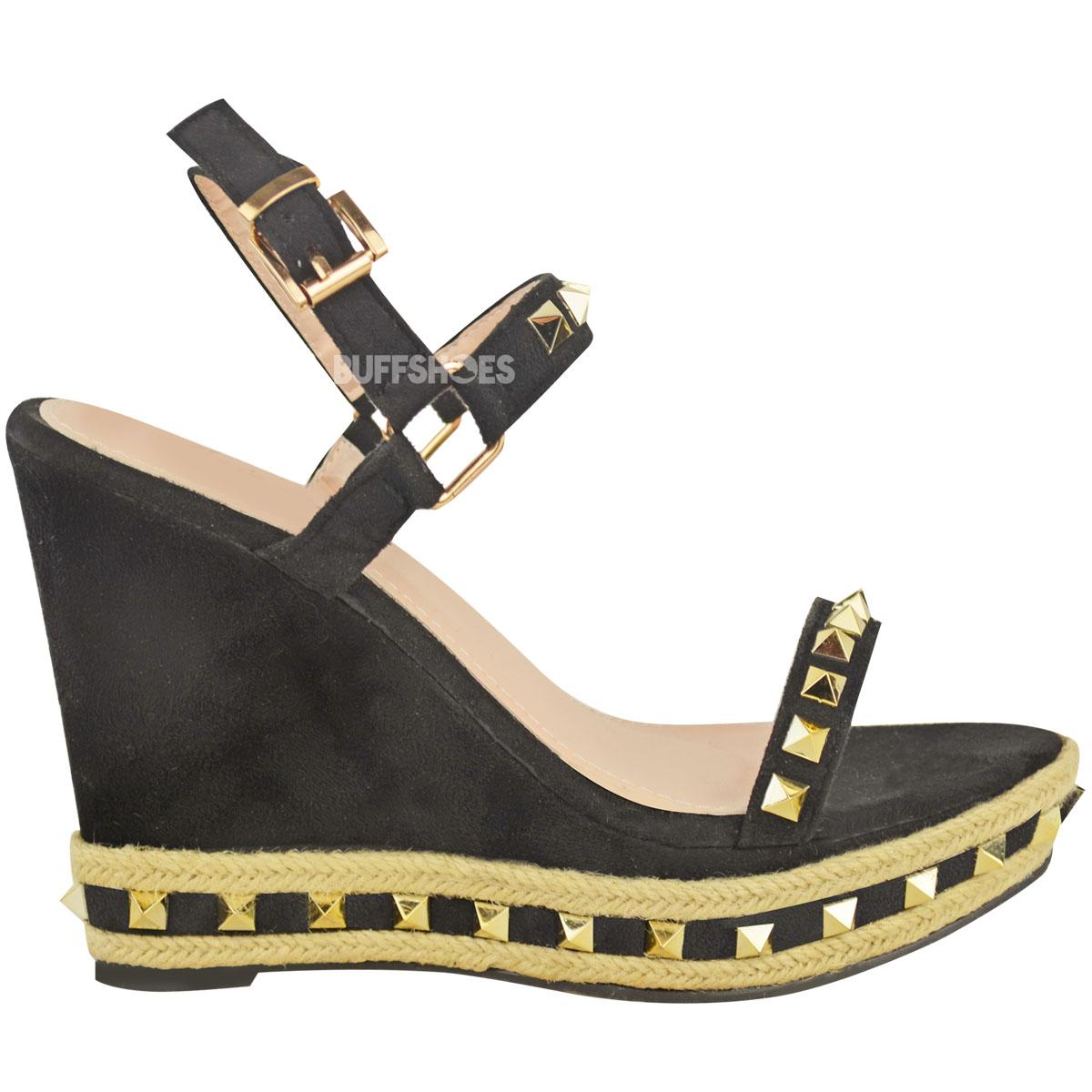 Womens Ladies Studded Espadrille Wedge High Heel Sandals