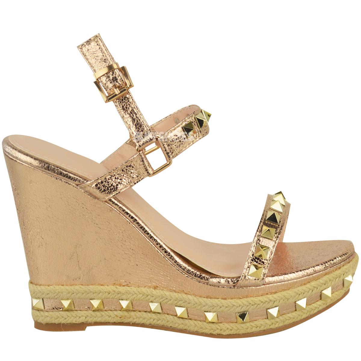 e7e4e3e64a5ab5 Womens Ladies Studded Espadrille Wedge High Heel Sandals Ankle Strap ...