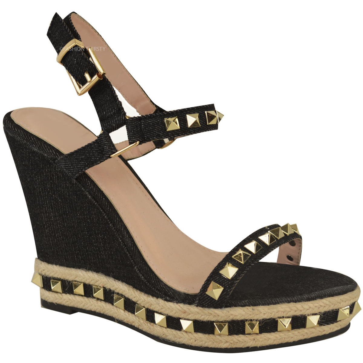 Womens Ladies Studded Wedge Sandals Strappy Platforms ...
