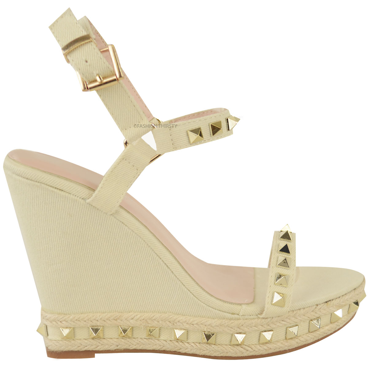 3266dafa61 Womens Ladies Studded Wedge Sandals Strappy Platforms Denim Summer ...