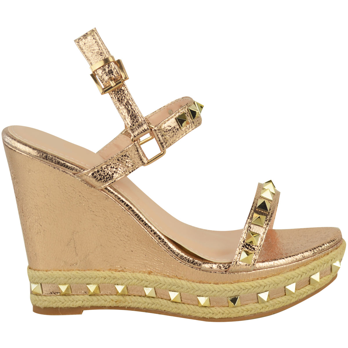 526fa74c2 Womens Ladies Rose Gold Stud Wedge Summer Sandals Ankle Strap ...