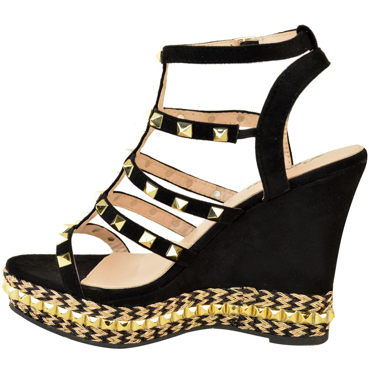 Womens Ladies High Heel Wedge Party Sandal Stud Designer Rose Gold Rock New Size