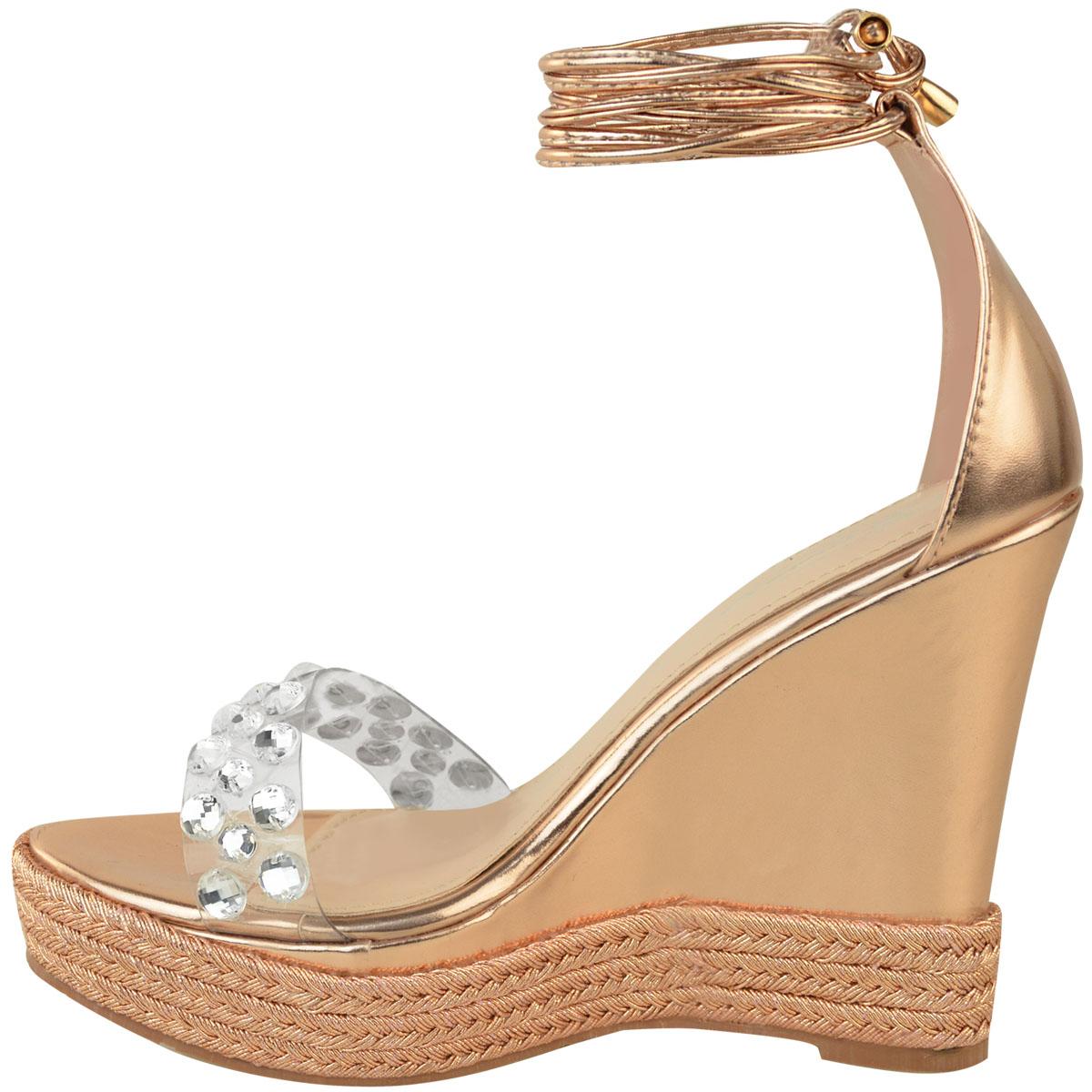 Womens Ladies Perspex High Heel Wedge Platform Diamante Sandals Tie Wedges On02