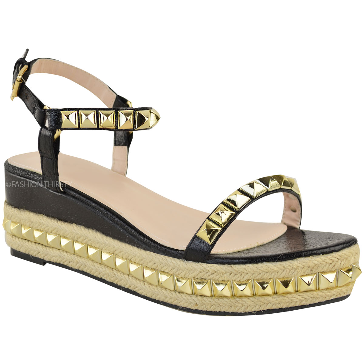 Ladies-Womens-Studded-Low-Wedge-Espadrille-Sandals-Platform-Rose-Gold-Shoes-Size thumbnail 13