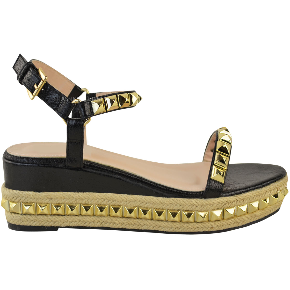Ladies-Womens-Studded-Low-Wedge-Espadrille-Sandals-Platform-Rose-Gold-Shoes-Size thumbnail 14