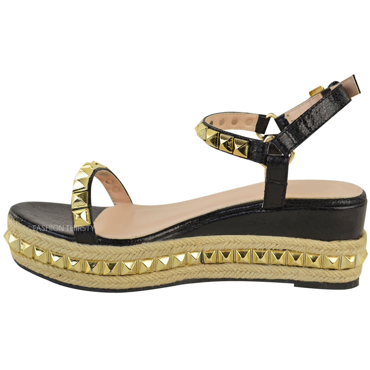 Ladies-Womens-Studded-Low-Wedge-Espadrille-Sandals-Platform-Rose-Gold-Shoes-Size thumbnail 15