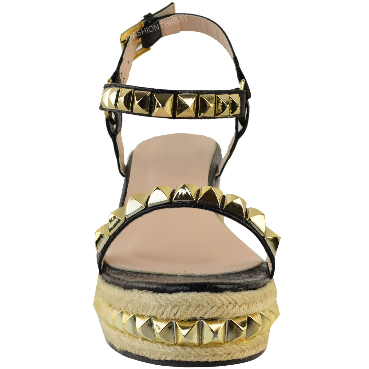 Ladies-Womens-Studded-Low-Wedge-Espadrille-Sandals-Platform-Rose-Gold-Shoes-Size thumbnail 16