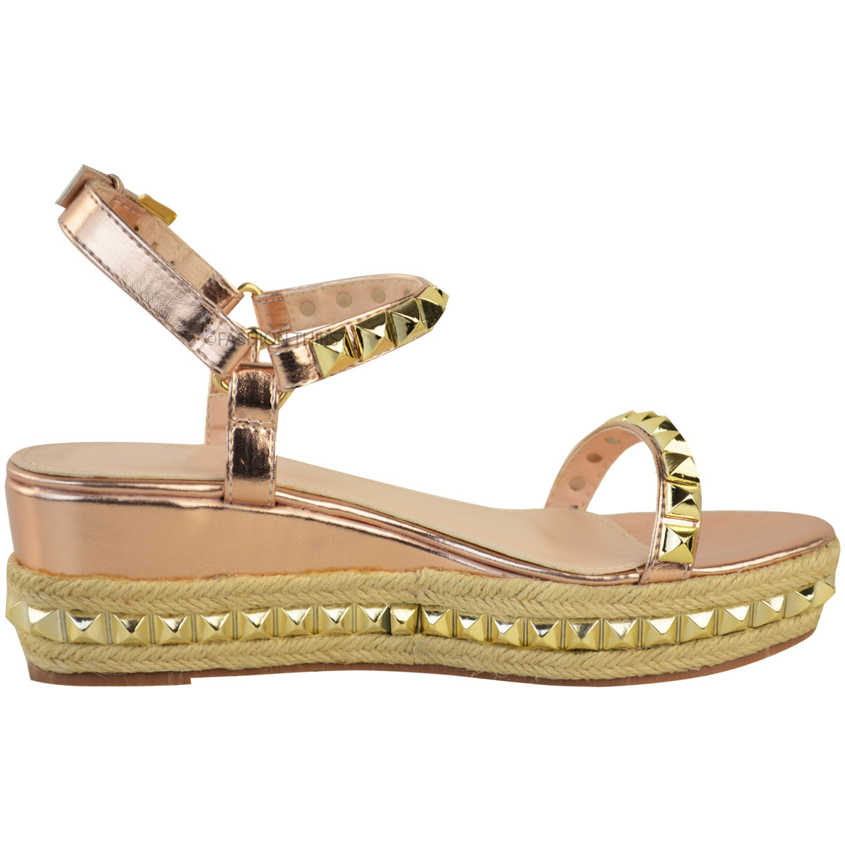 Ladies Womens Studded Low Wedge Espadrille Sandals ...