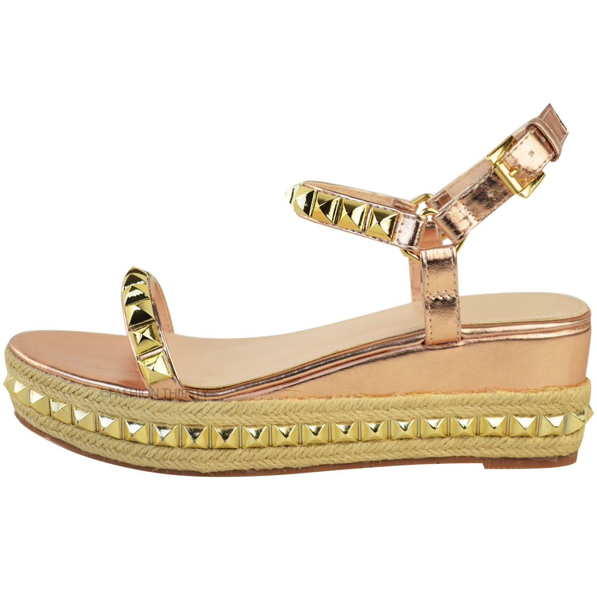 Ladies-Womens-Studded-Low-Wedge-Espadrille-Sandals-Platform-Rose-Gold-Shoes-Size thumbnail 5